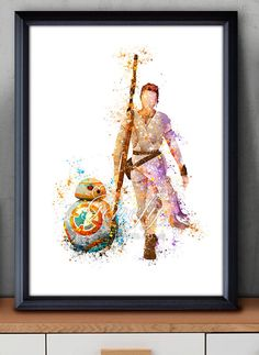 Star Wars The Force Awakens Rey BB-8 Watercolor Art Silhouette Poster Print - Wall Decor -  Watercolor Painting - Home Decor - Kids Decor