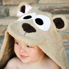 Make a hooded towel for baby or toddler.