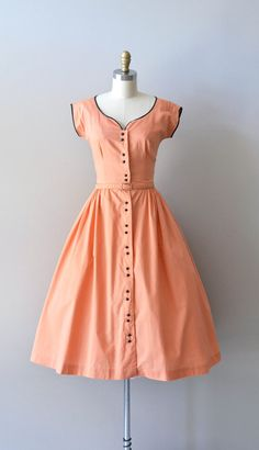 vintage 40s dress / cotton 1940s dress / Persikka dress