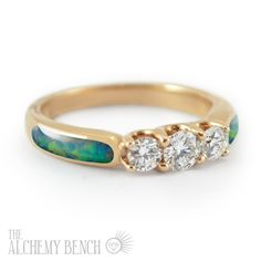 Unconventional 3-Diamond Opal Engagement Ring Set in Rose Gold | The Alchemy Bench #BridalTransformed