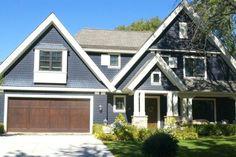 Brown Garage Door, Wood Garage Doors, Garage Door Design, Front Doors, Front Porch, Navy House Exterior, Exterior Paint Colors For House, Paint Colors For Home, Exterior Siding