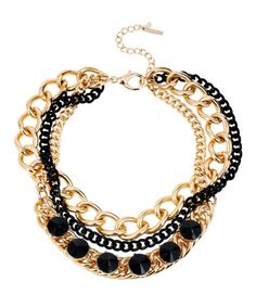 Look what I found on #zulily! Goldtone & Black Faceted Spike Bib Necklace #zulilyfinds