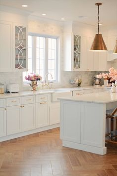Mullion Cabinet Doors: How to Add Overlays to a Glass Kitchen Cabinet - The Pink Dream - Kitchen Ideas Home Decor Kitchen, Country Kitchen, Kitchen And Bath, Kitchen Design, Kitchen Ideas, Ikea Kitchen, Glass Kitchen Cabinets, Glass Cabinet Doors, Kitchen Display Cabinet