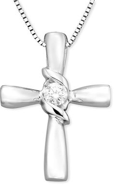 Trumiracle 174 Diamond Cross Pendant Necklace In Sterling