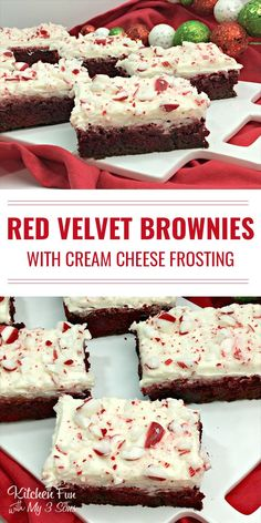 Red Velvet Peppermint Brownies - delicious Christmas dessert!