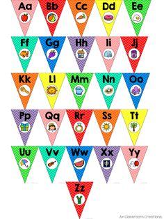 Alphabet Pennants:  Classic Color Chevron