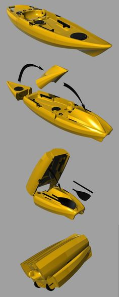 The switchblade 10 folds down from a 10-foot Fishing kayak to a piece of rolling luggage which rolls along on its own concealed wheels. It fits in your car, not on it.