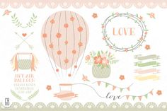 Hot air balloons, roses, ribbons by GrafikBoutique on Creative Market