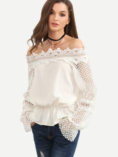 Blusa hombro al aire manga de crochet -blanco-Spanish SheIn(Sheinside)