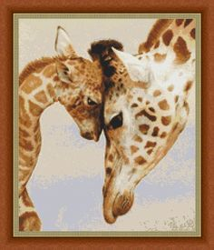 Mothers Love Giraffes Counted Cross Stitch Pattern 11.93 x
