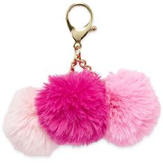 Triple Pom Key Chain, Pink/Multi - Womens > Wallets + Small... ($12) ❤ liked on Polyvore featuring accessories, keychain, pink key chains, fob key chain and pom pom key chain