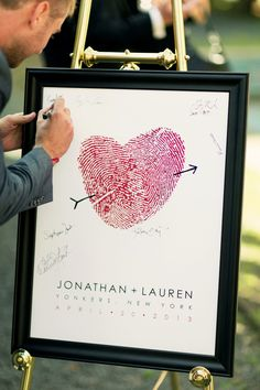Guest book poster made with your own fingerprints. Customize colors to match your wedding or home. See more here: https://www.flutterbyeprints.com/collections/your-own-prints