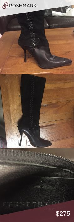 "Kenneth Cole size 7 1/2 suede knee high boots Gorgeous lightly worn knee high Kenneth Cole suede boots. Outer side of boot has a corset tie up look. Zipper on the inside. 4"" high heels. Size 7 1/2  do not have box it came in. Kenneth Cole Shoes Heeled Boots"