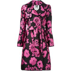 Milly Floral Print Trench Coat (10.768.965 IDR) ❤ liked on Polyvore featuring outerwear, coats, silk trench coat, silk coat, floral coats, milly coat and floral print coat