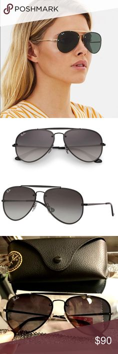 1e9b978ef1 Ray-Ban 3584N Black Blaze Aviators Ray Ban Blaze Aviators. Black steel  frames. The Blaze Aviators have a bold double bridge with flat lenses over  the frame ...