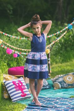 Girl's Navy Floral Dress | BB Children's Boutique