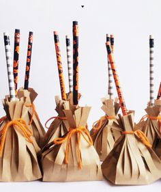 Kids will love these broomstick treats, which are filled with packaged snacks and festive unsharpened pencils. Hand them out to Trick-or-Treaters, or bring them as favors to the kids' classroom parties.