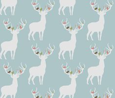 not_alone_winter_spoonflower fabric by troismiettes for sale on Spoonflower - custom fabric, wallpaper and wall decals Motifs Textiles, Textile Patterns, Quilting Patterns, Paper Scrapbook, Scrapbooking, Deer Fabric, Deer Nursery, Oh Deer, Pretty Patterns