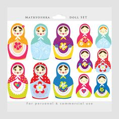 This clipart package is for:  1. Six Russian nesting doll illustrations (female) 2. Six Russian nesting doll illustrations (young girl/child)