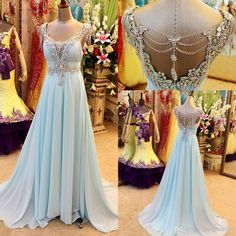colred wedding dress alternative/Wholesale Long Prom Dresses - Buy Real Sample Light Blue Chiffon Crystal Prom Party Dresses Beaded Backless Greek Arabic Style Evening Celebrity Pageant Gowns Plus Size 2014, $155.5 | DHgate