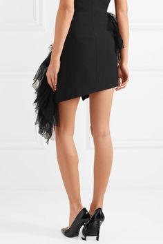 Saint Laurent   Ruffled flocked tulle and wool-gabardine mini skirt   NET-A-PORTER.COM