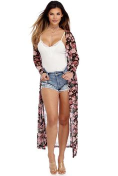 Black Blushing Floral Duster | WindsorCloud