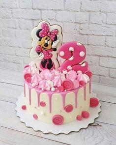 Bolo Mickey E Minnie, Minnie Cake, Mickey Cakes, Mickey Mouse Cake, Baby Girl Birthday Cake, Minnie Mouse Birthday Cakes, 3rd Birthday Cakes, Mickey Birthday, Mini Mouse Cake
