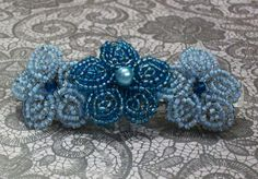 Blue Skies French Beaded Flower Trio by beadazzledbyalisha on Etsy