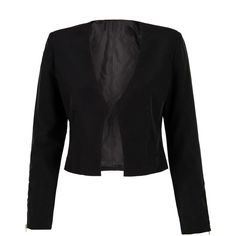Black Zip Detail Long Sleeve Blazer (110 BRL) ❤ liked on Polyvore featuring outerwear, jackets, blazers, tops, black, blazer jacket, long sleeve blazer, collar jacket and long sleeve jacket