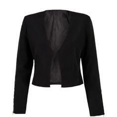 Black Zip Detail Long Sleeve Blazer ($23) ❤ liked on Polyvore featuring outerwear, jackets, blazers, long sleeve blazer, collar jacket, long sleeve jacket and blazer jacket