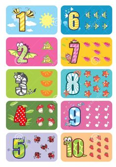 Numbers with Animal Values Preschool Charts, Preschool Learning, Kindergarten Math Worksheets, Preschool Printables, Montessori Activities, Teaching Kids, Activities For Kids, Numbers For Kids, Numbers Preschool