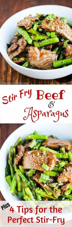 Stir Fry Beef and Asparagus in Oyster Sauce + 4 Tips for the Perfect Stir Fry- this deliciously simple one-pan meal is perfect for busy weeknights ~ http://jeanetteshealthyliving.com