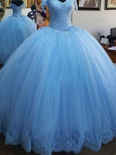 New 2020 Quinceanera Dresses Appliques Lace Corset Bodice Prom Gowns Sweet 16 Dress . Fashion Women dresses from top store Blue Ball Gowns, Tulle Ball Gown, Ball Gowns Prom, Tulle Prom Dress, Ball Gown Dresses, Chiffon Dresses, Puffy Dresses, Satin Dresses, Evening Dresses