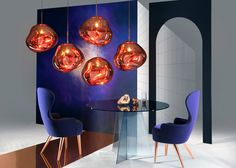 "Tom Dixon's 2015 series of products, including wingback chairs and ""hallucinogenic"" globular lamps"