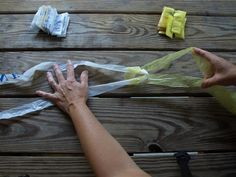 How to make plarn-- plastic yarn made from plastic grocery bags. This can be used for crochet or knitting.