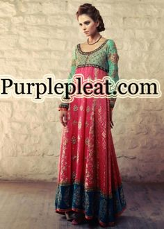Beautiful Pakistani magenta and seagreen formal dress