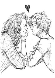 Louis tomlinson, larry stylinson, and harry styles image One Direction Fotos, One Direction Fan Art, Easy Drawings Sketches, Art Drawings, Larry Stylinson, Harry Styles Images, Larry Shippers, Louis And Harry, Louis Tomlinson