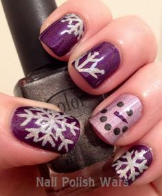 Snowflakes and Snowman On Purple Nails