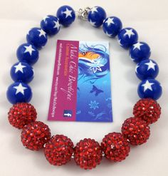 Girls Blue white Star and red rhinestone chunky necklace by MaksChicBowtique, $16.50