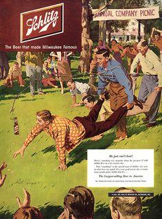 1951 Schlitz Beer Company Picnic Wheelbarrow Race Bottle Hang Stick In Front ad Beer Advertisement, Retro Advertising, Retro Ads, Vintage Advertisements, Vintage Ads, Vintage Posters, Vintage Food, Vintage Branding, Advertising Campaign