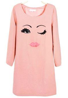 Pink eyelashes Eyes Lip Print Chiffon Dress too cute I want!!