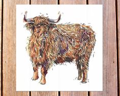Highland Cow art print. Illustration. Cattle. Farm. by LouPaper, $11.00