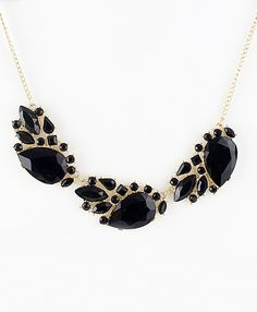 Black Gemstone Gold Geometric Chain Necklace US$7.51
