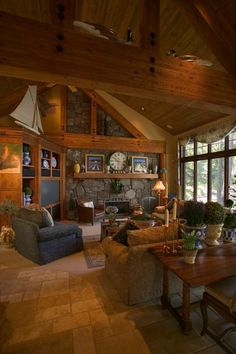 Hillside Home Living Room with Lake view.