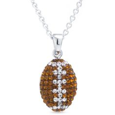 Belk Silverworks  Silver-Plated Crystal Football Pendant Boxed... ($24) ❤ liked on Polyvore featuring jewelry, necklaces, silver, silver plated necklace, crystal jewellery, crystal necklace, crystal pendant jewelry and crystal jewelry
