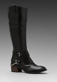 Steven Stirrup Riding Boot in Black Leather