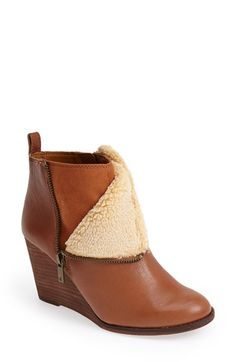 Lucky Brand 'Yorque' Wedge Leather Bootie (Women) available at #Nordstrom