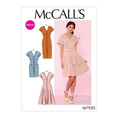 McCall's 7920 Misses'/Miss Petite Dresses and Belt sewing pattern Mccalls Sewing Patterns, Simplicity Sewing Patterns, Sewing Pattern Paper, Modern Sewing Patterns, Petite Outfits, Petite Dresses, Summer Dress Patterns, Summer Dresses, Button Front Dress