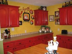 Chef Decor Kitchen, I Painted My Cabinets Red And Did A Black Wash To Bring