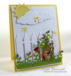 Sunny Garden, Watering Can and Button Flowers